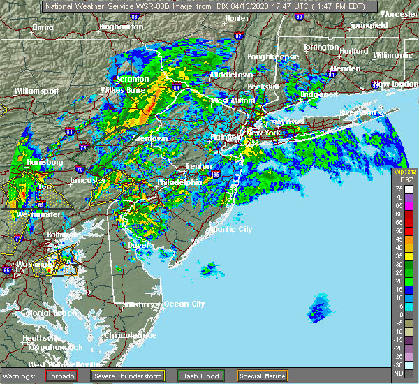 Radar Image for Severe Thunderstorms near Phoenixville, PA at 4/13/2020 1:49 PM EDT