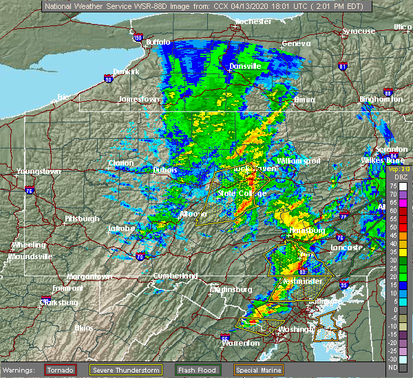 Radar Image for Severe Thunderstorms near Longfellow, PA at 4/13/2020 2:07 PM EDT