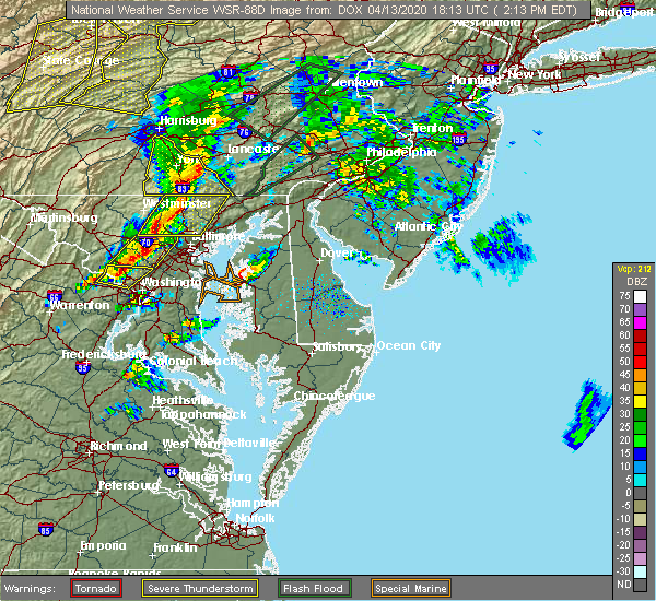 Radar Image for Severe Thunderstorms near Fivepointville, PA at 4/13/2020 2:16 PM EDT
