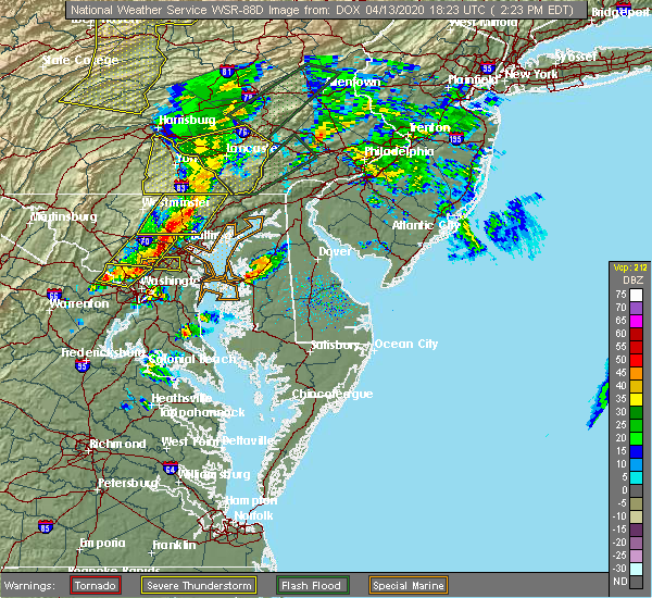 Radar Image for Severe Thunderstorms near Aberdeen, MD at 4/13/2020 2:30 PM EDT