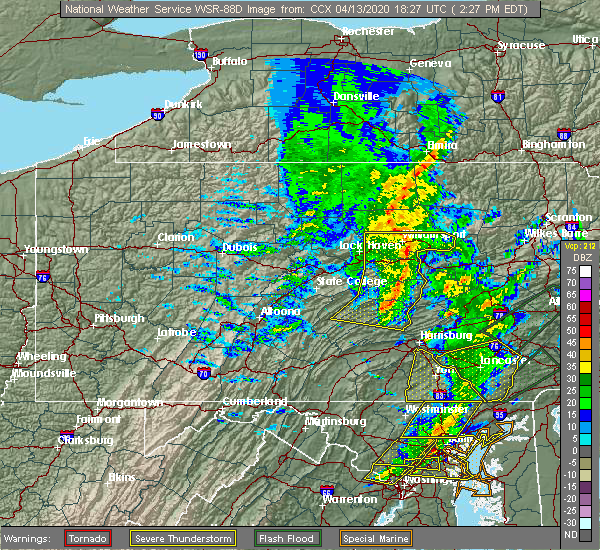 Radar Image for Severe Thunderstorms near Williamsport, PA at 4/13/2020 2:31 PM EDT
