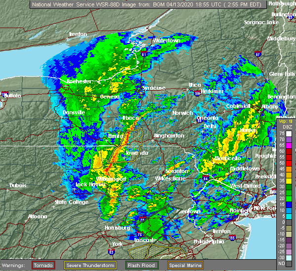 Radar Image for Severe Thunderstorms near Sayre, PA at 4/13/2020 2:57 PM EDT