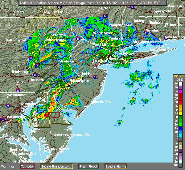 Radar Image for Severe Thunderstorms near Silver Ridge, NJ at 4/13/2020 3:43 PM EDT