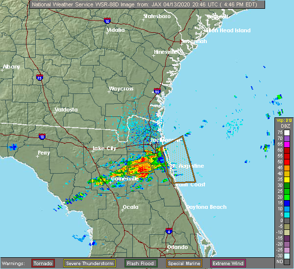Radar Image for Severe Thunderstorms near World Golf Village, FL at 4/13/2020 4:51 PM EDT