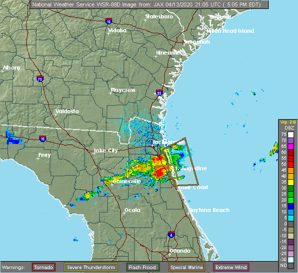 Radar Image for Severe Thunderstorms near World Golf Village, FL at 4/13/2020 5:08 PM EDT