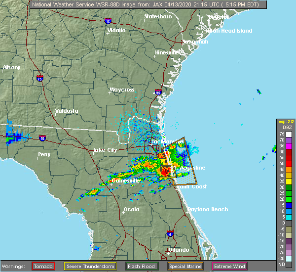 Radar Image for Severe Thunderstorms near World Golf Village, FL at 4/13/2020 5:17 PM EDT