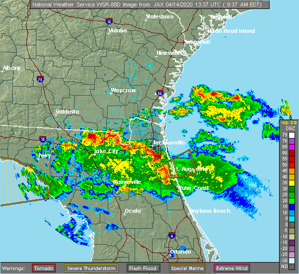 Radar Image for Severe Thunderstorms near World Golf Village, FL at 4/14/2020 9:43 AM EDT