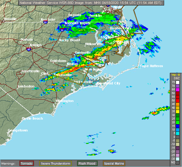 Radar Image for Severe Thunderstorms near Vandemere, NC at 4/18/2020 11:59 AM EDT