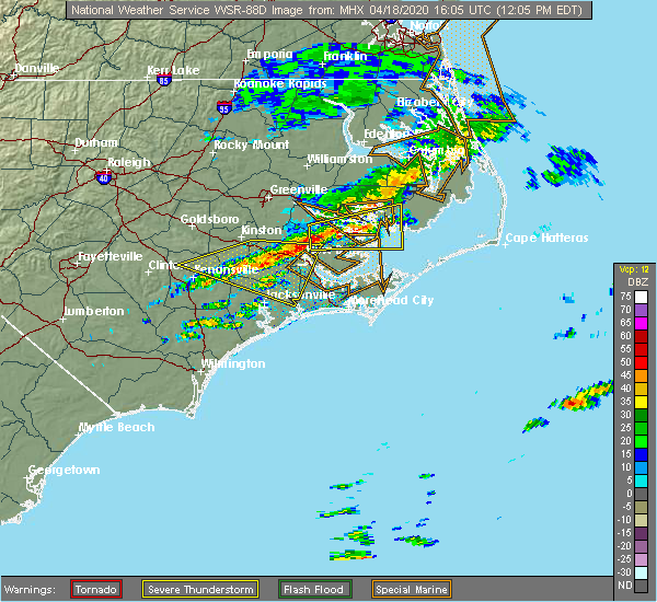 Radar Image for Severe Thunderstorms near Vandemere, NC at 4/18/2020 12:13 PM EDT