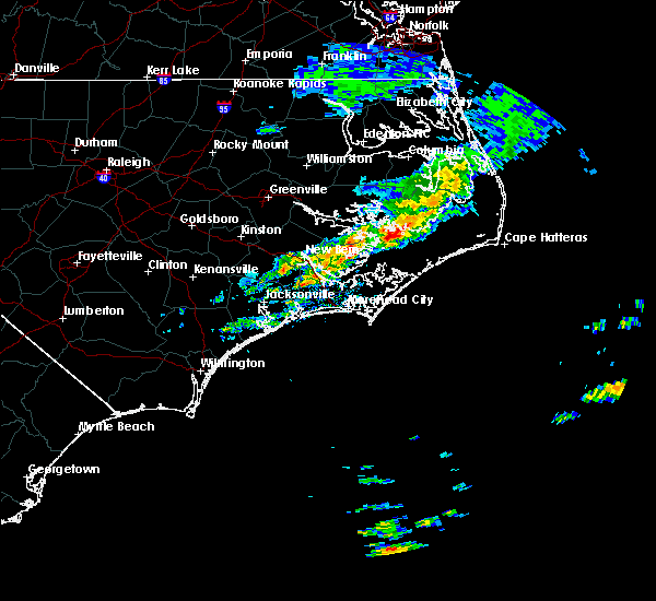 Radar Image for Severe Thunderstorms near Vandemere, NC at 4/18/2020 12:27 PM EDT