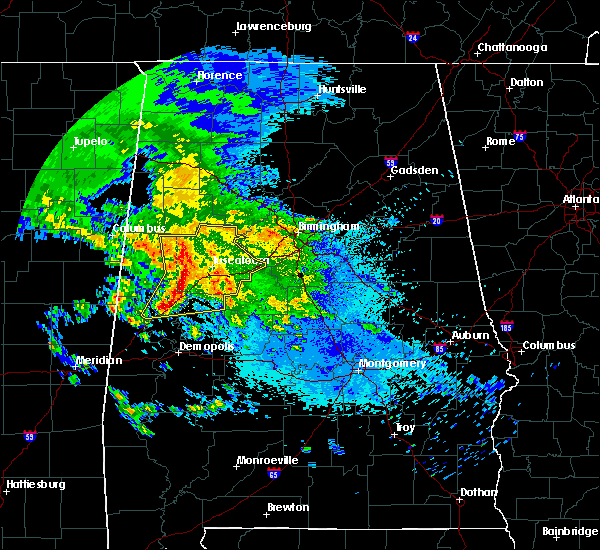 Radar Image for Severe Thunderstorms near Brookwood, AL at 4/19/2020 5:04 AM CDT