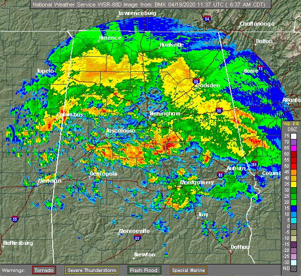 Radar Image for Severe Thunderstorms near Rockford, AL at 4/19/2020 6:44 AM CDT