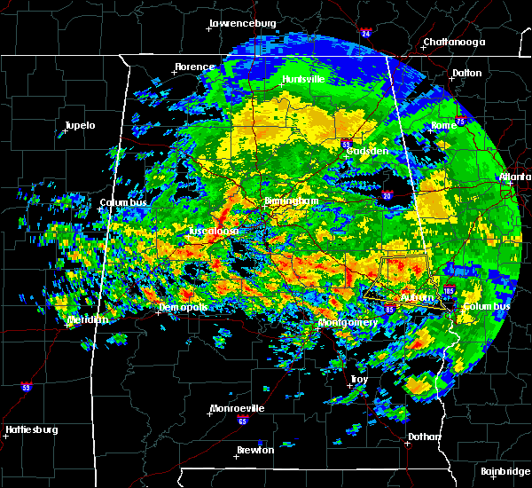 Radar Image for Severe Thunderstorms near Mulga, AL at 4/19/2020 7:55 AM CDT