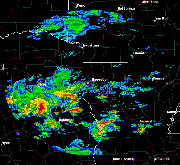 Radar Image for Severe Thunderstorms near Center, TX at 4/19/2020 10:36 AM CDT