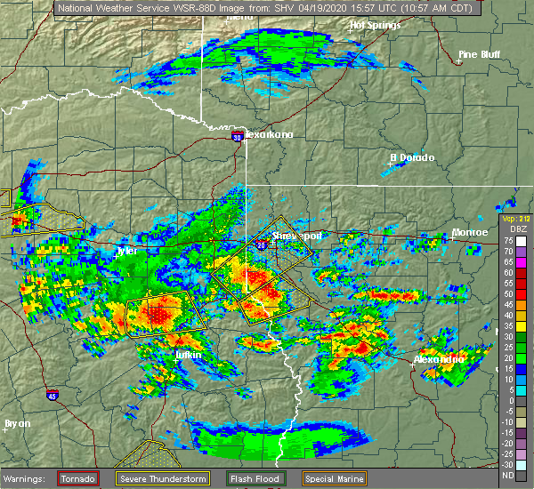 Radar Image for Severe Thunderstorms near Eastwood, LA at 4/19/2020 11:04 AM CDT
