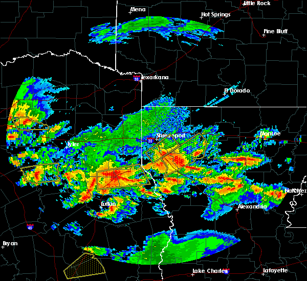 Radar Image for Severe Thunderstorms near Keachi, LA at 4/19/2020 11:29 AM CDT