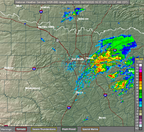 Radar Image for Severe Thunderstorms near East Tawakoni, TX at 4/19/2020 11:43 AM CDT