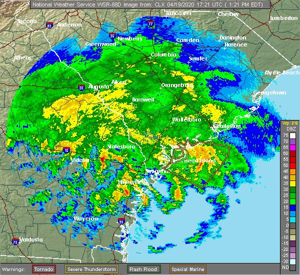 Radar Image for Severe Thunderstorms near Pembroke, GA at 4/19/2020 1:26 PM EDT