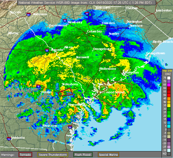 Radar Image for Severe Thunderstorms near Pembroke, GA at 4/19/2020 1:34 PM EDT