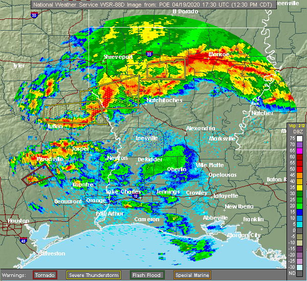 Radar Image for Severe Thunderstorms near Belmont, LA at 4/19/2020 12:37 PM CDT