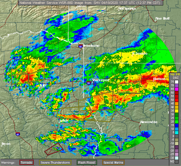 Radar Image for Severe Thunderstorms near Belmont, LA at 4/19/2020 12:43 PM CDT