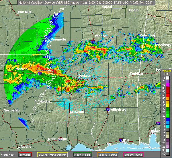 Radar Image for Severe Thunderstorms near Crystal Springs, MS at 4/19/2020 12:56 PM CDT