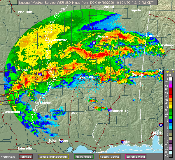 Radar Image for Severe Thunderstorms near Newton, MS at 4/19/2020 2:29 PM CDT
