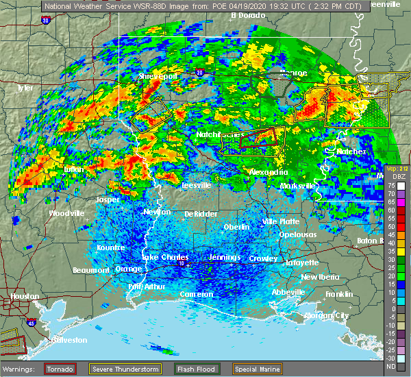 Radar Image for Severe Thunderstorms near Belmont, LA at 4/19/2020 2:46 PM CDT