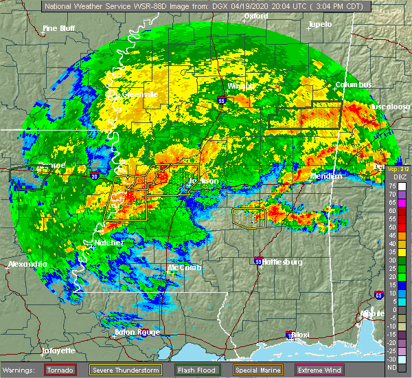 Radar Image for Severe Thunderstorms near Bay Springs, MS at 4/19/2020 3:10 PM CDT