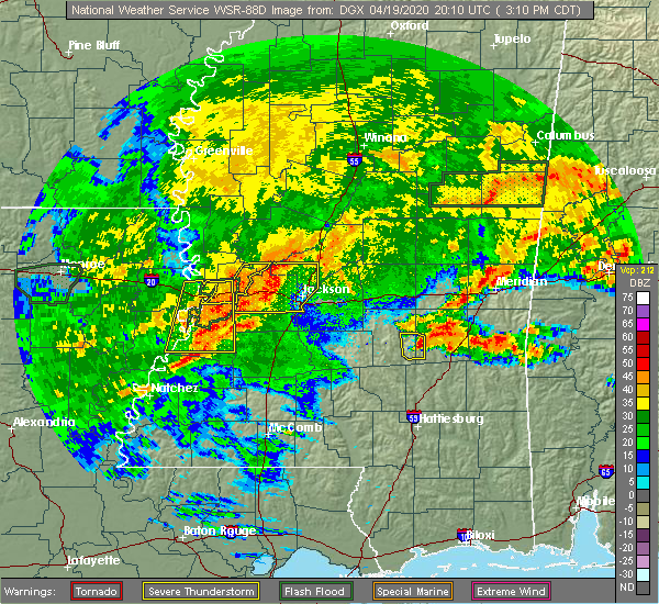 Radar Image for Severe Thunderstorms near Crystal Springs, MS at 4/19/2020 3:14 PM CDT