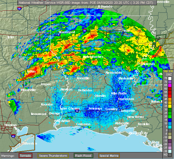 Radar Image for Severe Thunderstorms near San Augustine, TX at 4/19/2020 3:25 PM CDT