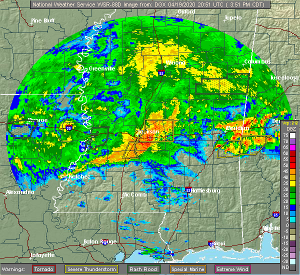 Radar Image for Severe Thunderstorms near Flowood, MS at 4/19/2020 3:58 PM CDT