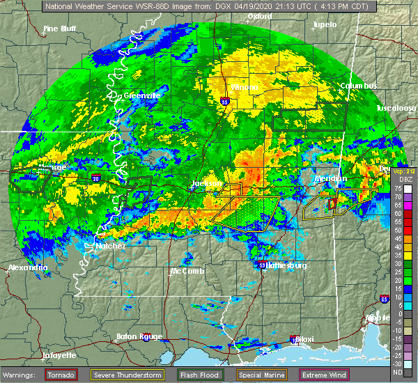Radar Image for Severe Thunderstorms near Bay Springs, MS at 4/19/2020 4:17 PM CDT