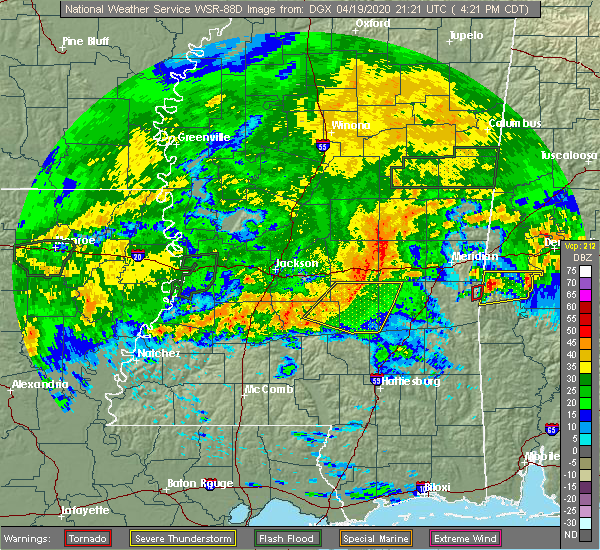 Radar Image for Severe Thunderstorms near Bay Springs, MS at 4/19/2020 4:28 PM CDT