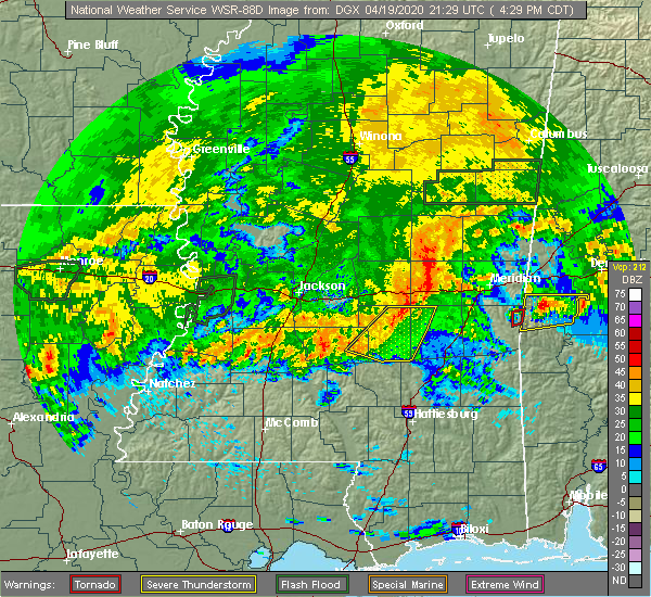 Radar Image for Severe Thunderstorms near Bay Springs, MS at 4/19/2020 4:37 PM CDT