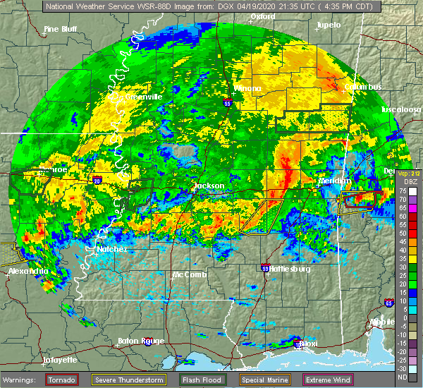 Radar Image for Severe Thunderstorms near Bay Springs, MS at 4/19/2020 4:42 PM CDT