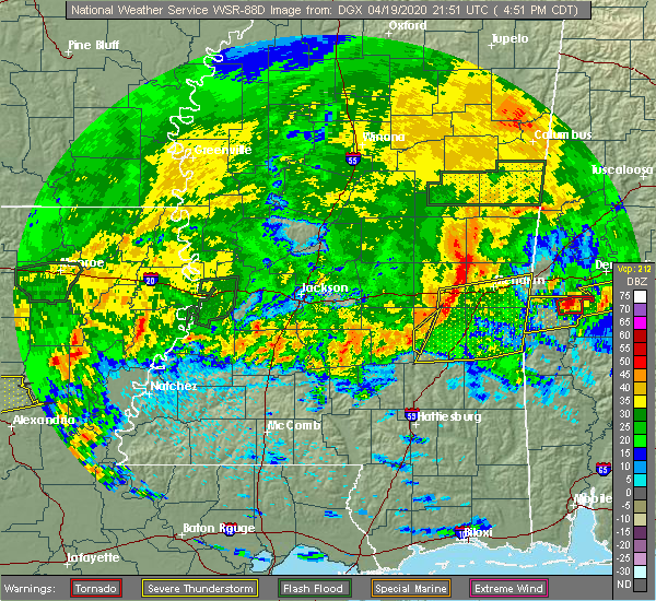 Radar Image for Severe Thunderstorms near Bay Springs, MS at 4/19/2020 4:53 PM CDT