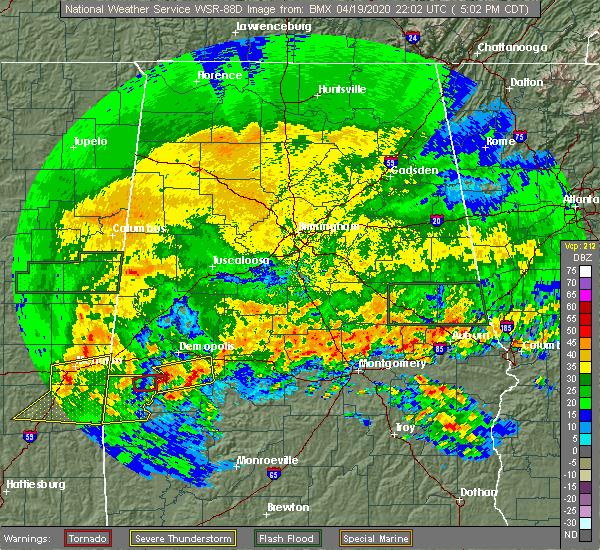Radar Image for Severe Thunderstorms near Bellamy, AL at 4/19/2020 5:11 PM CDT