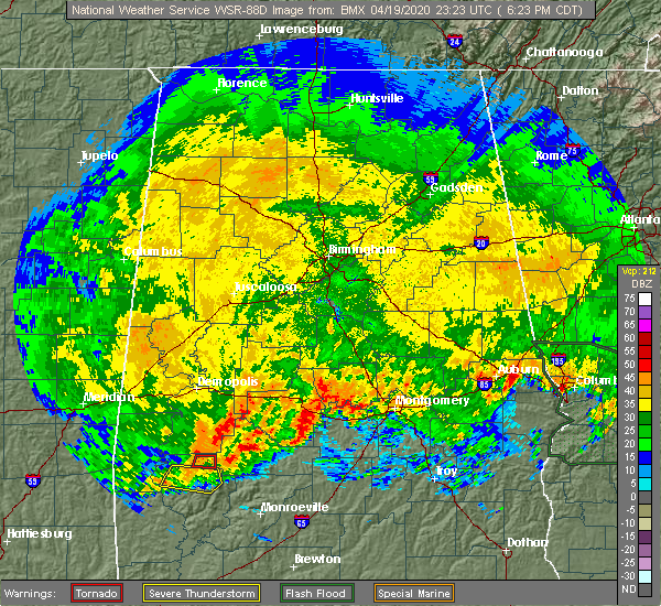 Radar Image for Severe Thunderstorms near Vredenburgh, AL at 4/19/2020 6:30 PM CDT