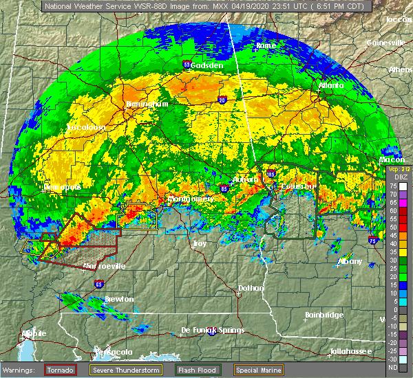 Radar Image for Severe Thunderstorms near Gordonville, AL at 4/19/2020 6:53 PM CDT