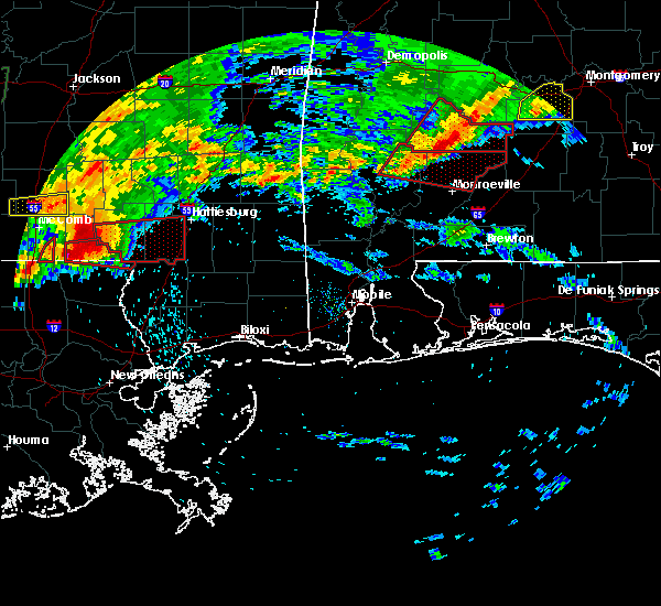 Radar Image for Severe Thunderstorms near Vredenburgh, AL at 4/19/2020 7:02 PM CDT