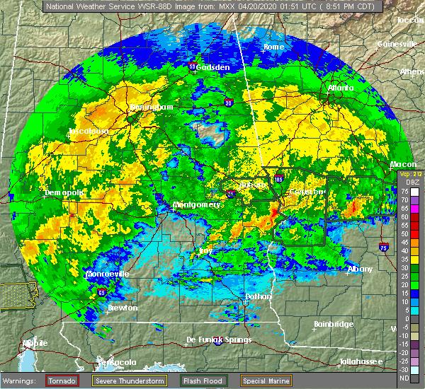 Radar Image for Severe Thunderstorms near Columbus, GA at 4/19/2020 9:59 PM EDT
