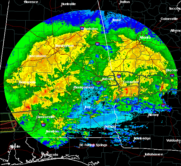 Radar Image for Severe Thunderstorms near Columbus, GA at 4/19/2020 10:25 PM EDT