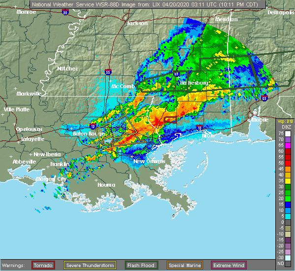 Radar Image for Severe Thunderstorms near Picayune, MS at 4/19/2020 10:15 PM CDT
