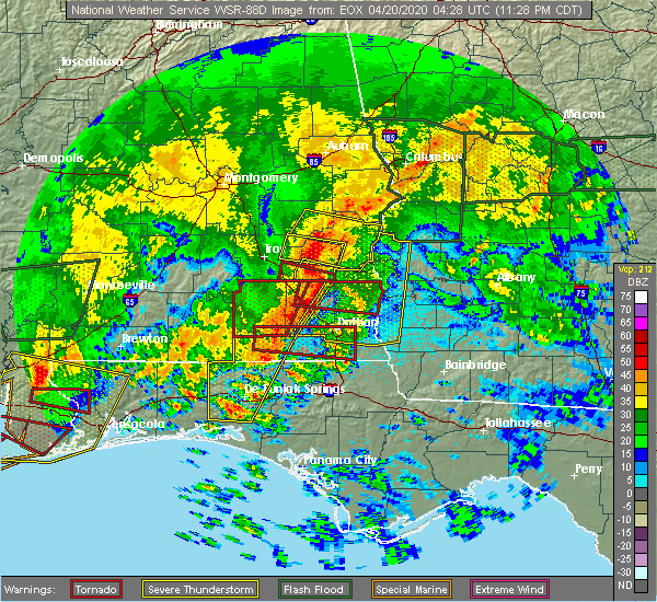Radar Image for Severe Thunderstorms near Eufaula, AL at 4/19/2020 11:59 PM CDT
