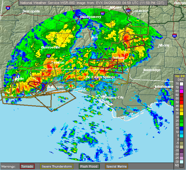 Radar Image for Severe Thunderstorms near Whitfield, FL at 4/20/2020 12:08 AM CDT