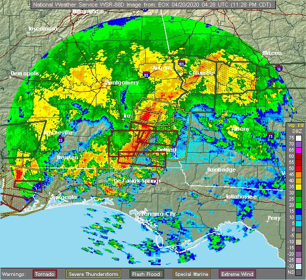 Radar Image for Severe Thunderstorms near Cowarts, AL at 4/20/2020 12:11 AM CDT