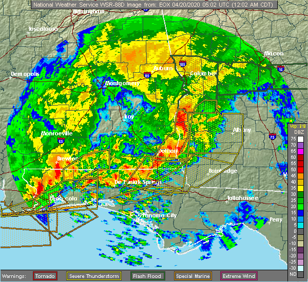 Radar Image for Severe Thunderstorms near Cowarts, AL at 4/20/2020 12:39 AM CDT
