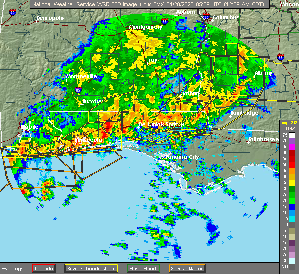 Radar Image for Severe Thunderstorms near Jacob City, FL at 4/20/2020 12:42 AM CDT