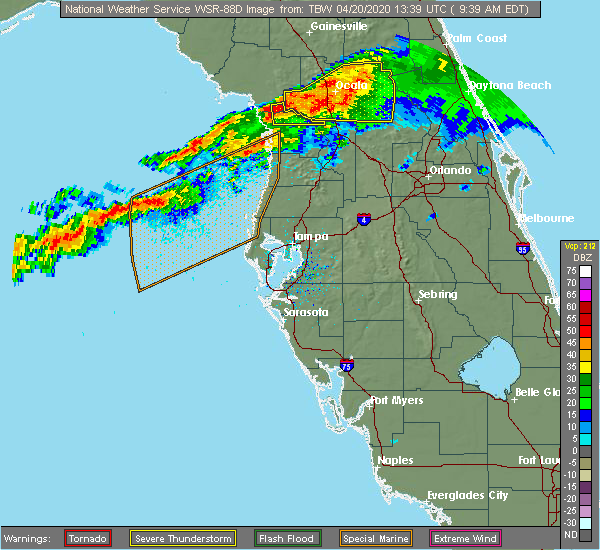 Radar Image for Severe Thunderstorms near Dunnellon, FL at 4/20/2020 9:47 AM EDT